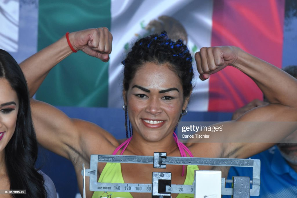 Alys Sanchez poses for photos during a weigh-in on August 10, 2018 in Mexico City, Mexico. Mariana 'Barby' Juarez of Mexico will fight against Terumi Nuki of Japan for the WBA Bantamweight World Championship and Jackie Nava of Mexico will fight Alys Sanchez of Venezuela for the WBA Bantamweight International Championship on August 11.