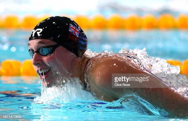 Alys Thomas of Great Britain competes in the Women's 200m Butterfly SemiFinal during the Swimming on Day Four of the European Championships Glasgow...