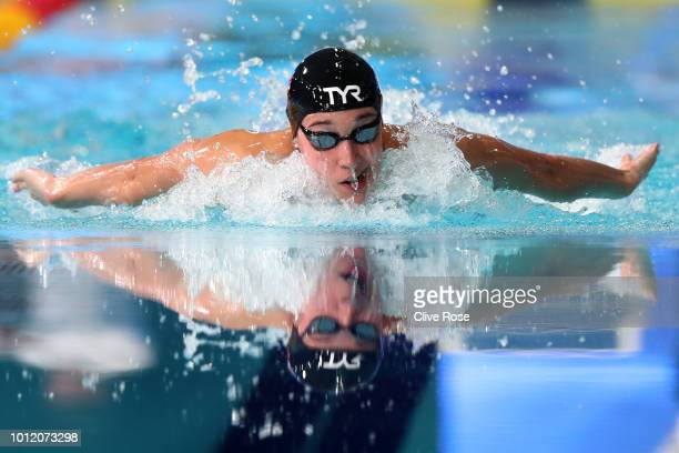 Alys Thomas of Great Britain competes in the Women's 200m Butterfly Final during the swimming on Day five of the European Championships Glasgow 2018...