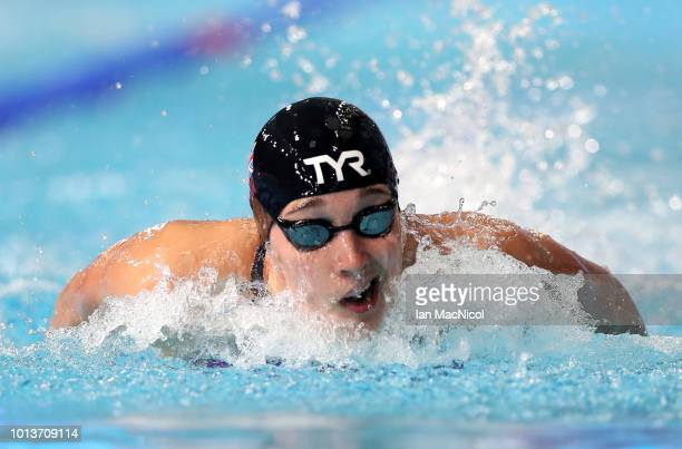 Alys Thomas of Great Britain competes in the Women's 4 x 100m Medley Relay Heat 1 during the swimming on Day eight of the European Championships...