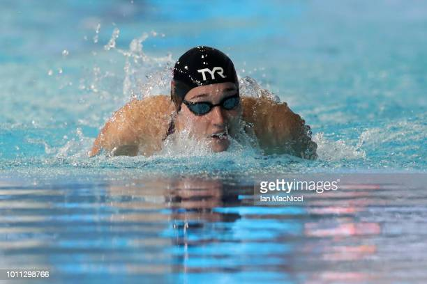 Alys Thomas of Great Britain competes in Women's 200m Butterfly Preliminary round during the Swimming on Day Four of the European Championships...
