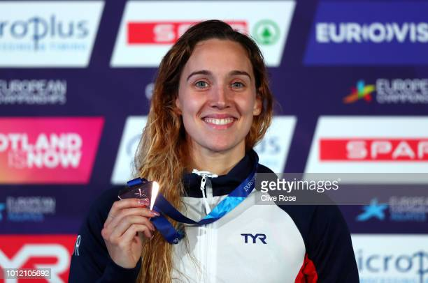Alys Thomas of Great Britain poses with her Bronze medal in the Women's Butterfly during the swimming on Day five of the European Championships...