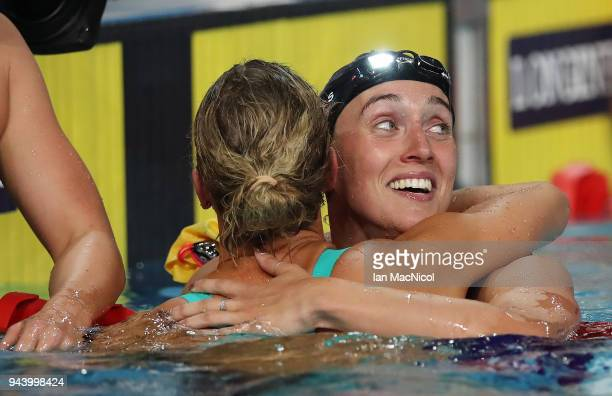 Alys Thomas of Wales celebrates winning the Women's 200m Butterfly on day five of the Gold Coast 2018 Commonwealth Games at Optus Aquatic Centre on...