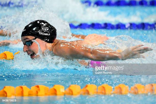 Alys Thomas of Wales competes during the Women's 200m Butterfly Final on day five of the Gold Coast 2018 Commonwealth Games at Optus Aquatic Centre...