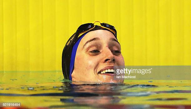 Alys Thomas reacts after winning the Women's 100m Butterfly during Day Six of The British Swimming Championships at Tollcross International Swimming...