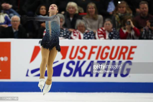 Alysa Liu competes in the Championship Ladies Free Skate during the 2019 US Figure Skating Championships at Little Caesars Arena on January 25 2019...