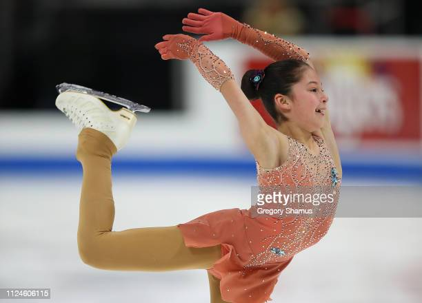 Alysa Liu competes in the championship ladies short program during the 2019 Geico US Figure Skating Championships at Little Caesars Arena on January...