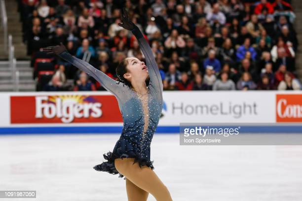 Alysa Liu competes in the ladies free skate program during the 2019 Geico US Figure Skating Championships at Little Caesars Arena on January 25 2019...