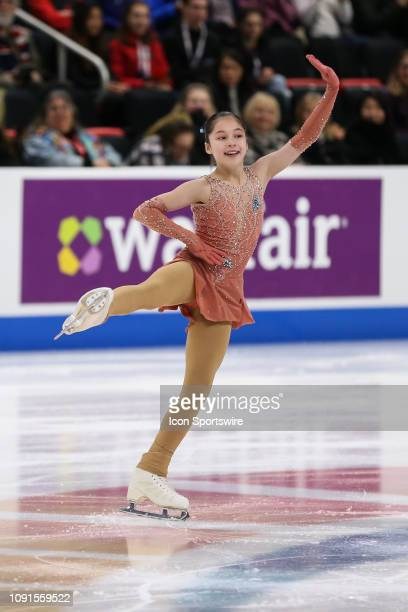 Alysa Liu competes in the senior ladies short program during the 2019 US Figure Skating Championships at Little Caesars Arena on January 24 2019 in...