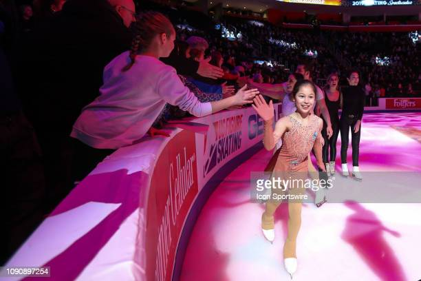 DETROIT MI Alysa Liu greets fans during the finale of the skating spectacular exhibition following the 2019 US Figure Skating Championships at Little...