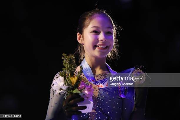 Alysa Liu holds her gold medal after winning the 2019 Senior Ladies Championship during the 2019 US Figure Skating Championships at Little Caesars...