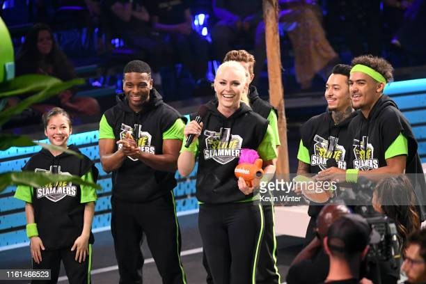 Alysa Liu Kel Mitchell Lindsey Vonn Nyjah Huston and Trae Young react after Ms Vonn won the Need for Speed award onstage during Nickelodeon Kids'...