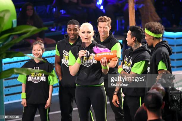 Alysa Liu Kel Mitchell Lindsey Vonn Shaun White Nyjah Huston and Trae Young react after Ms Vonn won the Need for Speed award onstage during...