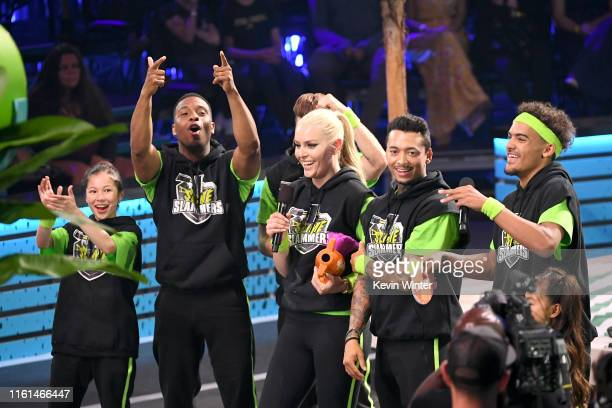 Alysa Liu Kel Mitchell Shaun White Lindsey Vonn Nyjah Huston and Trae Young react after Ms Vonn won the Need for Speed award onstage during...
