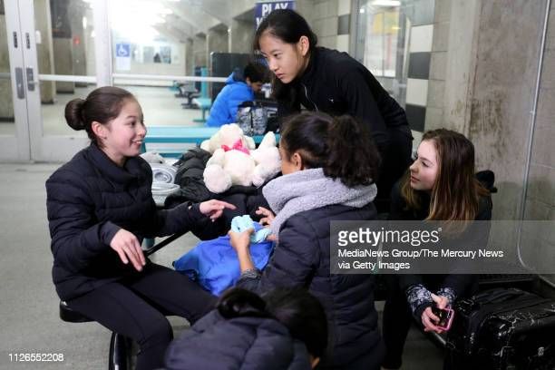 Alysa Liu of Richmond left converse with fellow ice skaters after practice at Oakland Ice Center in Oakland Calif on Thursday Jan 31 2019 Liu...