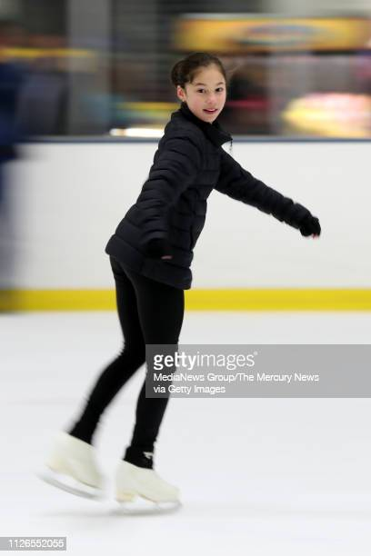 Alysa Liu of Richmond practices at Oakland Ice Center in Oakland Calif on Thursday Jan 31 2019 Liu returned home after becoming the youngest person...