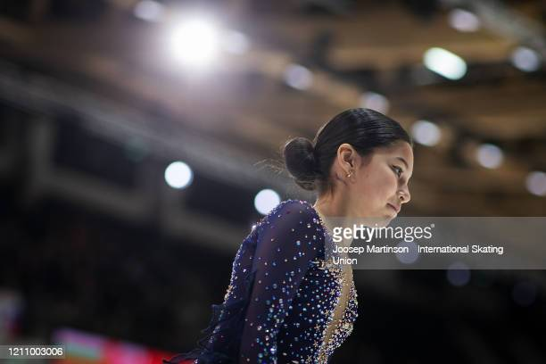 Alysa Liu of the United States prepares in the Junior Ladies Free Skating during day 4 of the ISU World Junior Figure Skating Championships at...