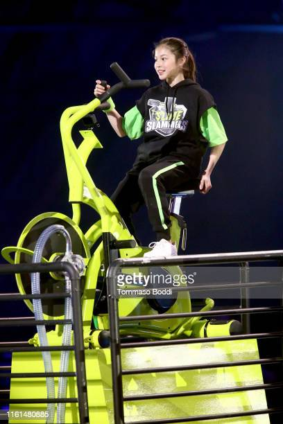 Alysa Liu participates in a challenge onstage during Nickelodeon Kids' Choice Sports 2019 at Barker Hangar on July 11 2019 in Santa Monica California