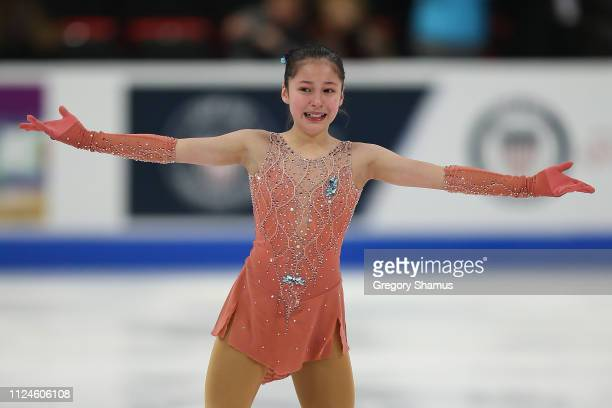 Alysa Liu reacts to her championship ladies short program during the 2019 Geico US Figure Skating Championships at Little Caesars Arena on January 24...