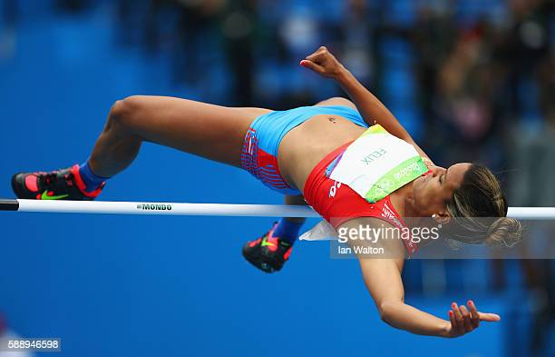 Alysbeth Felix of Puerto Rico competes during the Women's Heptathlon High Jump on Day 7 of the Rio 2016 Olympic Games at the Olympic Stadium on...