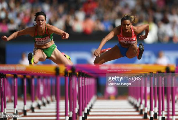 Alysbeth Felix of Puerto Rico competes in the Women's Heptathlon 100 metres hurdles during day two of the 16th IAAF World Athletics Championships...