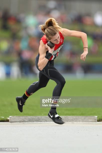 Alysha Burnett competes in the Womens Heptathlon shot putt during the Australian Track and Field Championships at Sydney Olympic Park Athletic Centre...