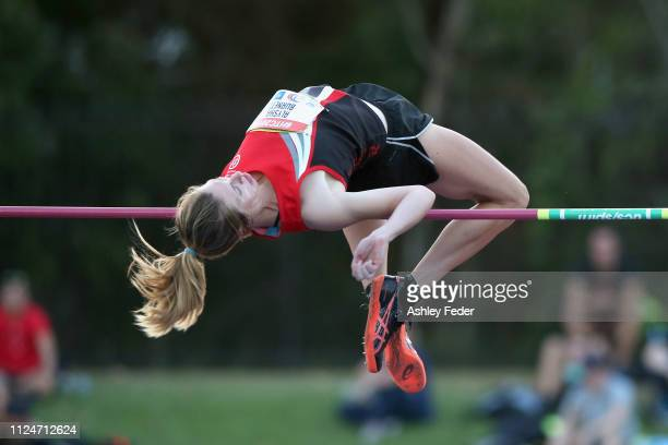 Alysha Burnett competes in the Womens High Jump during the 2019 Hunter Track Classic at Hunter Sports Centre on January 25 2019 in Newcastle Australia