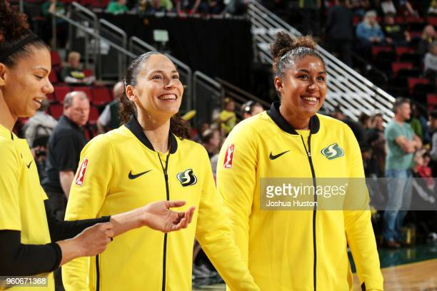 Alysha Clark and Kaleena MosquedaLewis of the Seattle Storm look on before the game against the Phoenix Mercury on MAY 20 2018 at KeyArena in Seattle...