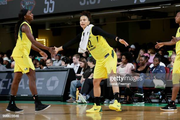 Alysha Clark of the Seattle Storm celebrates during the game against the New York Liberty on July 3 2018 at Westchester County Center in White Plains...