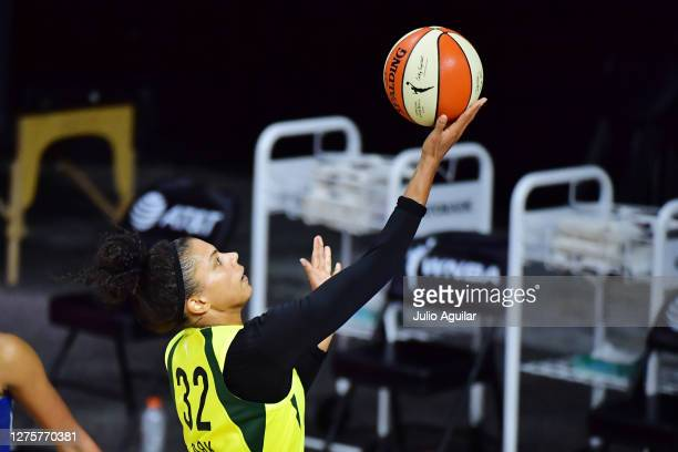 Alysha Clark of the Seattle Storm drives to the basket during the second half against the Minnesota Lynx Game One of their Third Round playoff at...