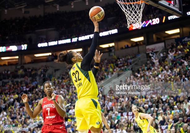 Alysha Clark of the Seattle Storm goes up for a basket during the first half of Game 2 of the WNBA Finals against the Washington Mystics at KeyArena...