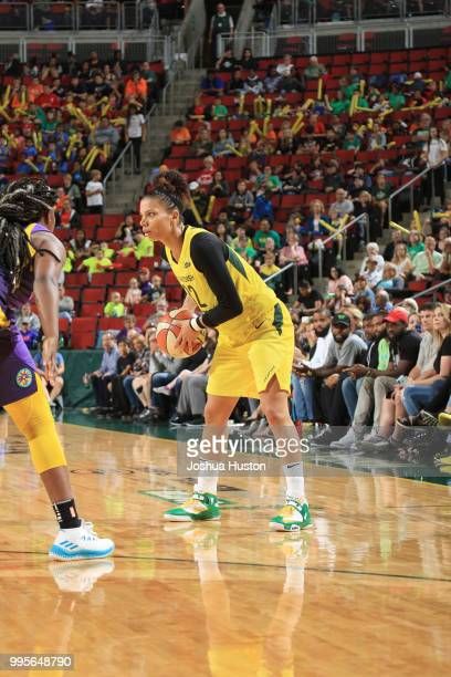 Alysha Clark of the Seattle Storm handles the ball against the Los Angeles Sparks on July 10 2018 at Key Arena in Seattle Washington NOTE TO USER...