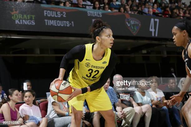 Alysha Clark of the Seattle Storm handles the ball against the New York Liberty on July 3 2018 at Westchester County Center in White Plains New York...