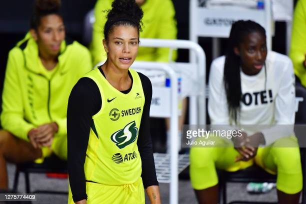 Alysha Clark of the Seattle Storm looks on during the second half of Game One of their Third Round playoff against the Minnesota Lynx at Feld...