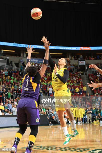 Alysha Clark of the Seattle Storm shoots the ball against the Los Angeles Sparks on July 10 2018 at Key Arena in Seattle Washington NOTE TO USER User...