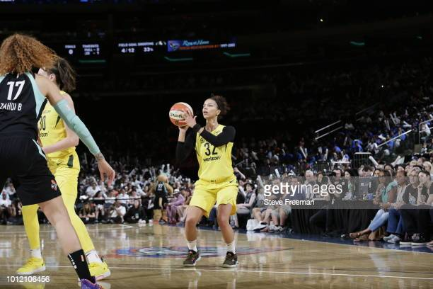 Alysha Clark of the Seattle Storm shoots the ball against the New York Liberty during a game played on August 6 2018 at Madison Square Garden in New...