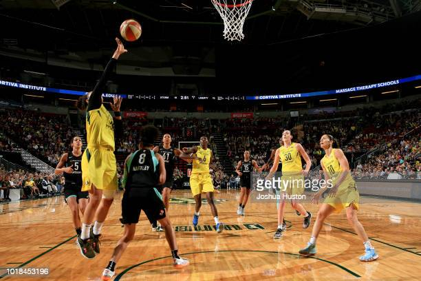 Alysha Clark of the Seattle Storm shoots the ball during the game against the New York Liberty on August 17 2018 at Key Arena in Seattle Washington...