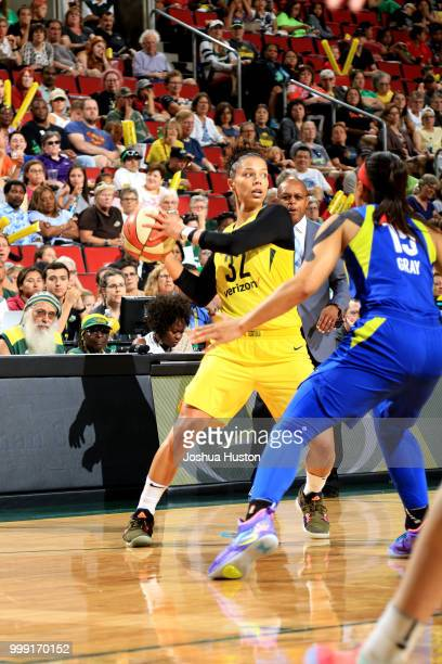 Alysha Clark of the Seattle Storm shoots the ball during the game against the Dallas Wings on July 14 2018 at Key Arena in Seattle Washington NOTE TO...