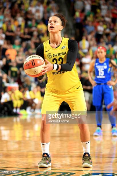 Alysha Clark of the Seattle Storm shoots the ball during the game against the Seattle Storm on July 14 2018 at Key Arena in Seattle Washington NOTE...