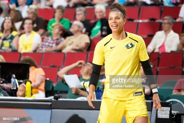 Alysha Clark of the Seattle Storm warms up before the game against the Washington Mystics on July 8 2018 at Key Arena in Seattle Washington NOTE TO...