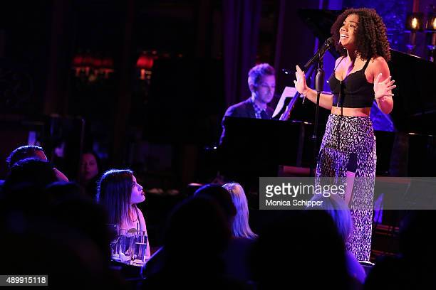Alysha Deslorieux performs on stage at YoungArts Awareness Day at 54 Below on September 24 2015 in New York City