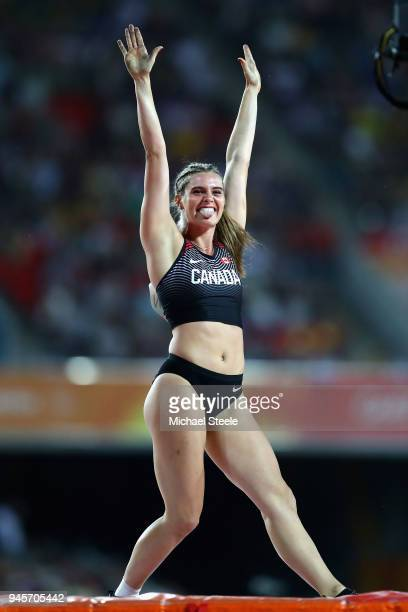 Alysha Newman of Canada celebrates in the Women's Pole Vault during athletics on day nine of the Gold Coast 2018 Commonwealth Games at Carrara...