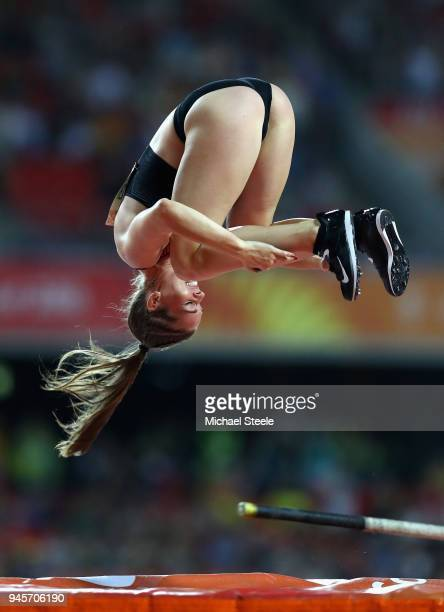 Alysha Newman of Canada celebrates with a somersault in the Women's Pole Vault during athletics on day nine of the Gold Coast 2018 Commonwealth Games...