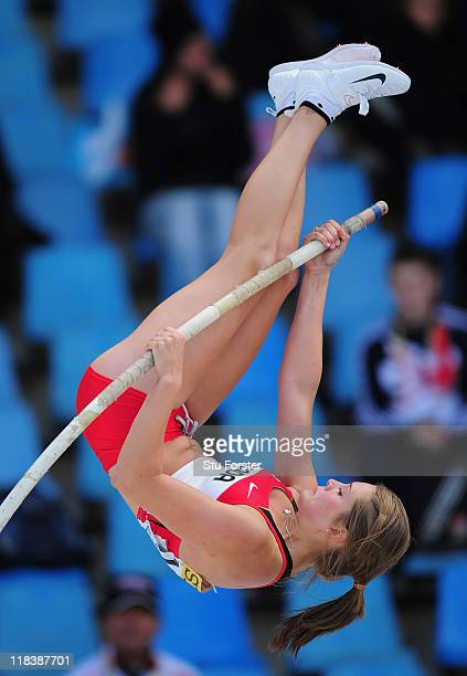 Alysha Newman of Canada clears the bar during the Womens Pole Vault qualification during day two of the IAAF World Youth Championships at Lille...