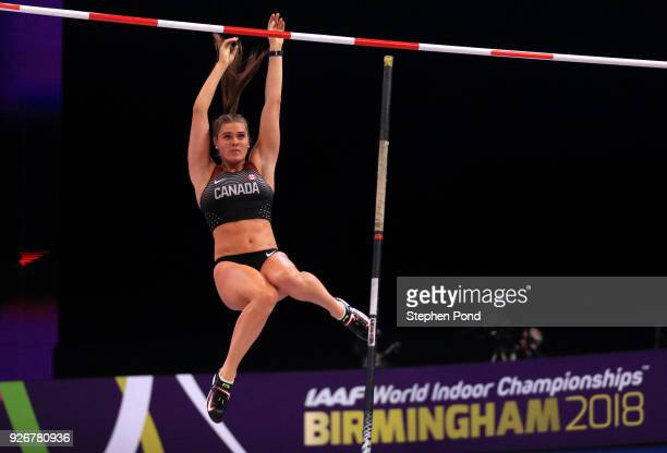 Alysha Newman of Canada competes in the Pole Vault Womens Final during the IAAF World Indoor Championships on Day Three at Arena Birmingham on March...