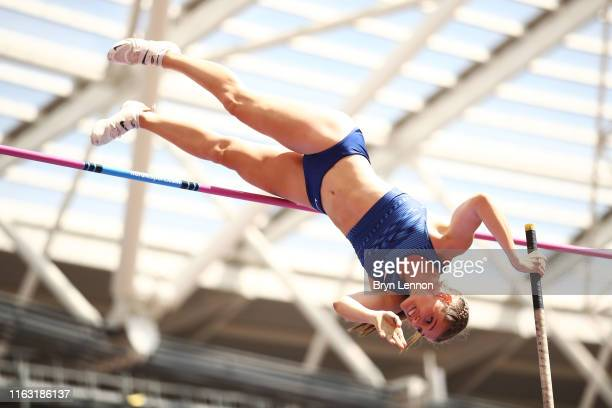 Alysha Newman of Canada competes in the Women's Pole Vault during Day One of the Muller Anniversary Games IAAF Diamond League event at the London...