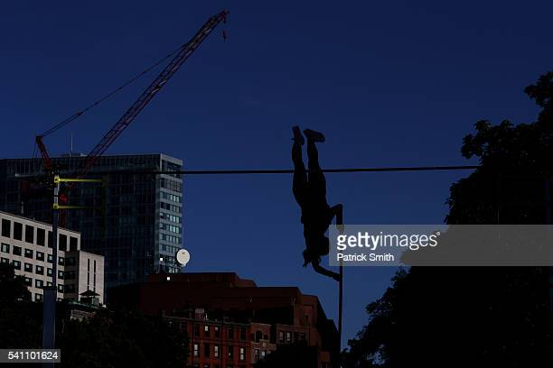 Alysha Newman of Canada competes in the women's pole vault during day two of the Adidas Boost Boston Games on Charles Street between the Boston...