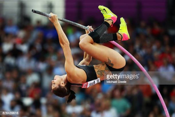Alysha Newman of Canada competes in the Women's Pole Vault qualification during day one of the 16th IAAF World Athletics Championships London 2017 at...