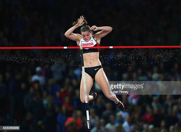 Alysha Newman of Canada competes in the Women's Pole Vault final at Hampden Park during day ten of the Glasgow 2014 Commonwealth Games on August 2...