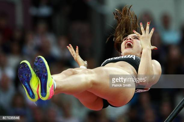 Alysha Newman of Canada reacts as she competes in the Women's Pole Vault final during day three of the 16th IAAF World Athletics Championships London...